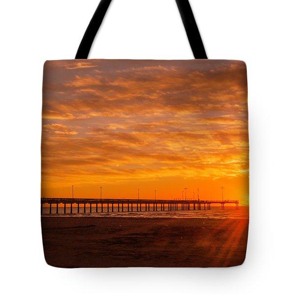 Sun Rising At Port Aransas Pier Tote Bag