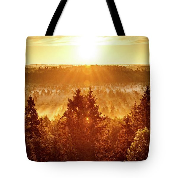 Sun Rising At Swamp Tote Bag by Teemu Tretjakov