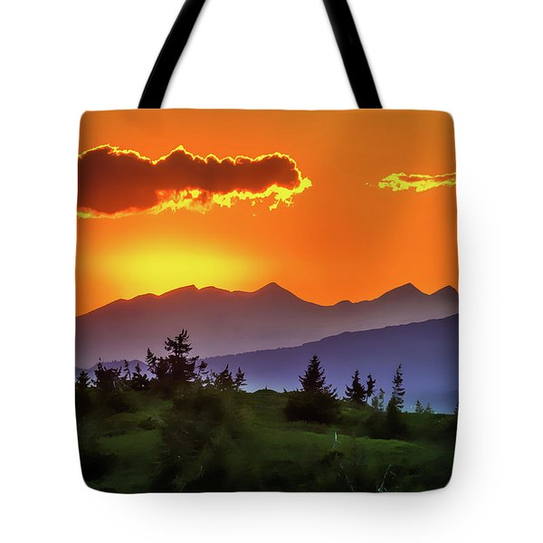Tote Bag featuring the painting Sun Rising by Harry Warrick