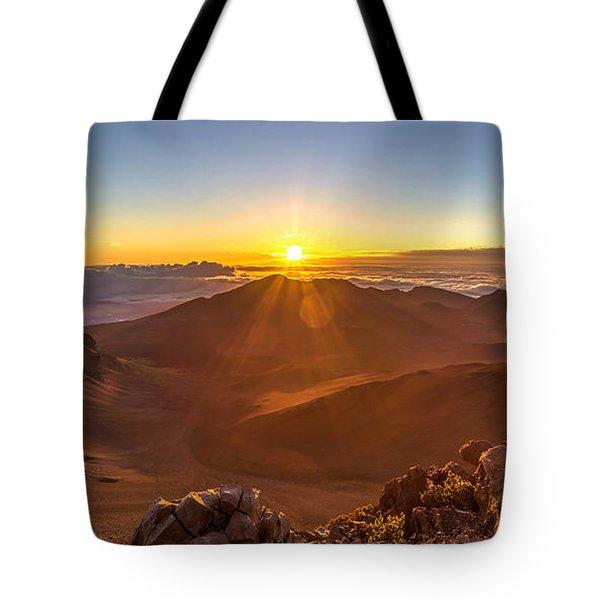 Sun Rising Mount Haleakala Tote Bag