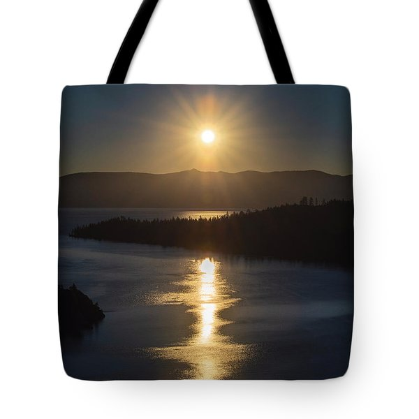 Sun Rising Over Lake Tahoe Tote Bag