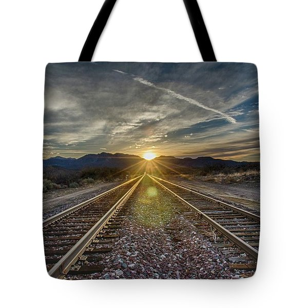 Sun Sets At The End Of The Line Tote Bag