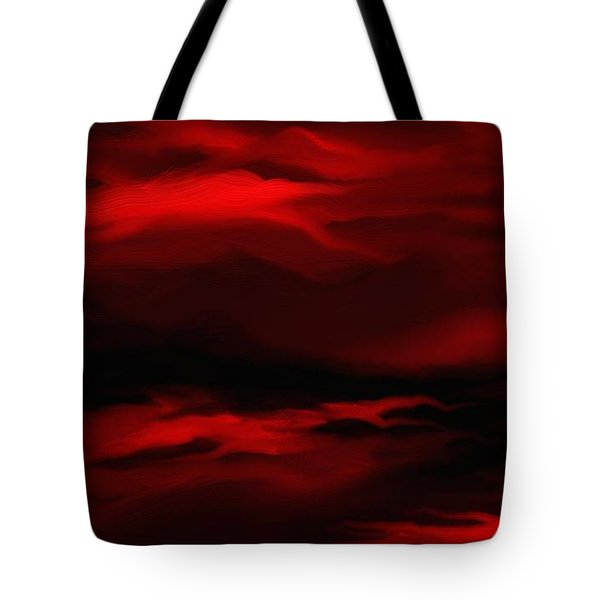 Tote Bag featuring the painting Sun Sets In Red by Rushan Ruzaick
