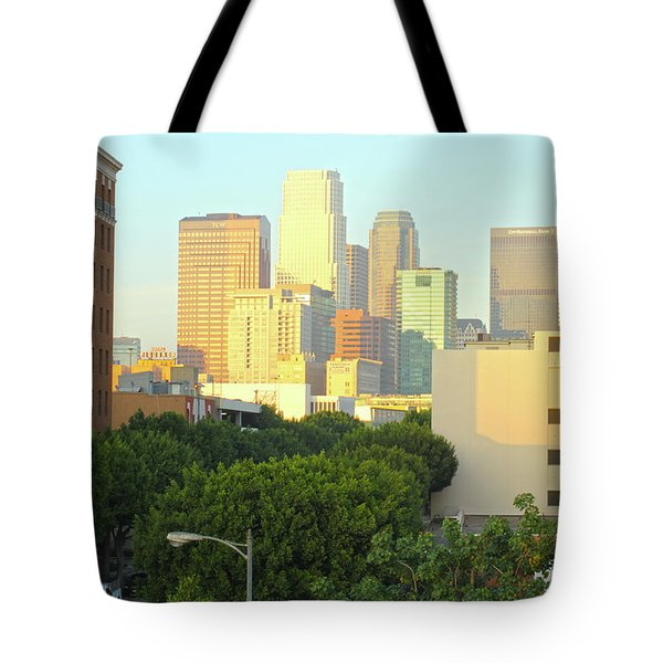 Sun Sets On Downtown Los Angeles Buildings #1 Tote Bag