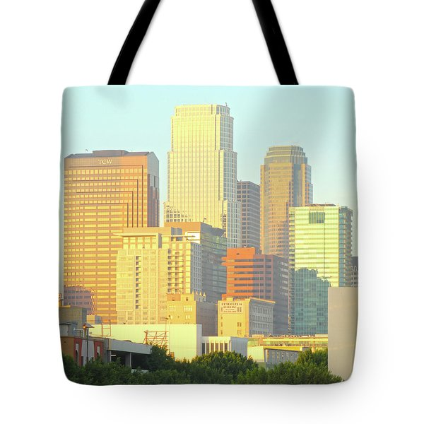 Sun Sets On Downtown Los Angeles Buildings #2 Tote Bag