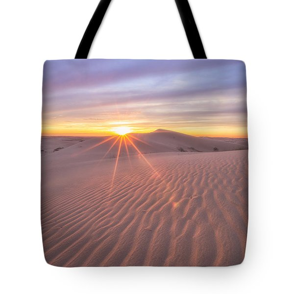 Tote Bag featuring the photograph Sun Setting At The Dunes by Patricia Davidson