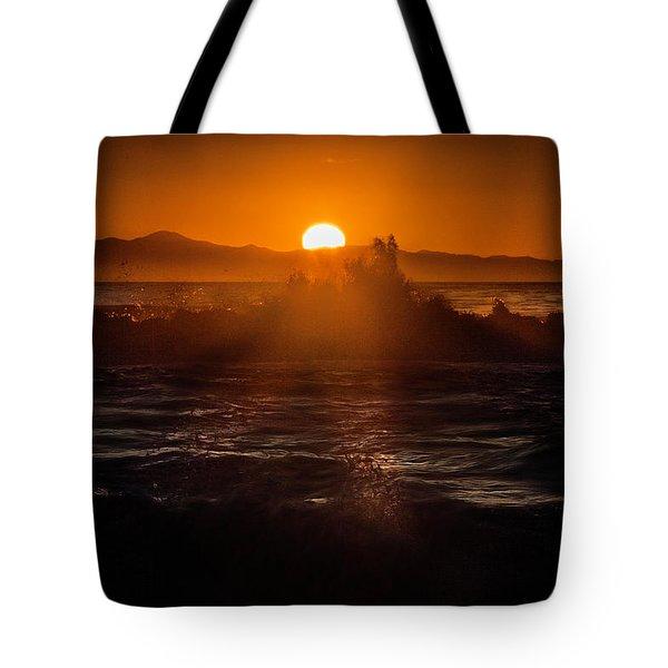 Sun Setting Behind Santa Cruz Island Tote Bag