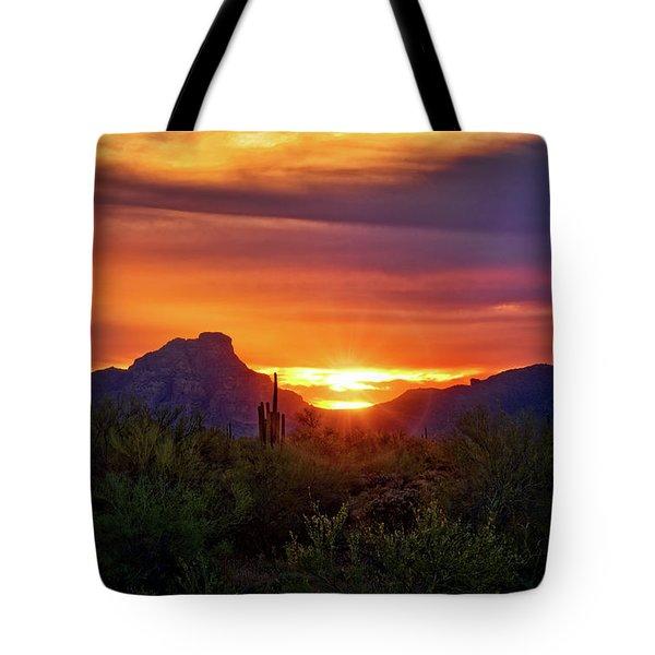 Tote Bag featuring the photograph Sun Setting On Red Mountain  by Saija Lehtonen