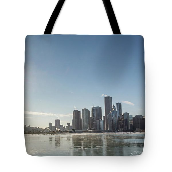 Sun Setting Over Chicago Tote Bag