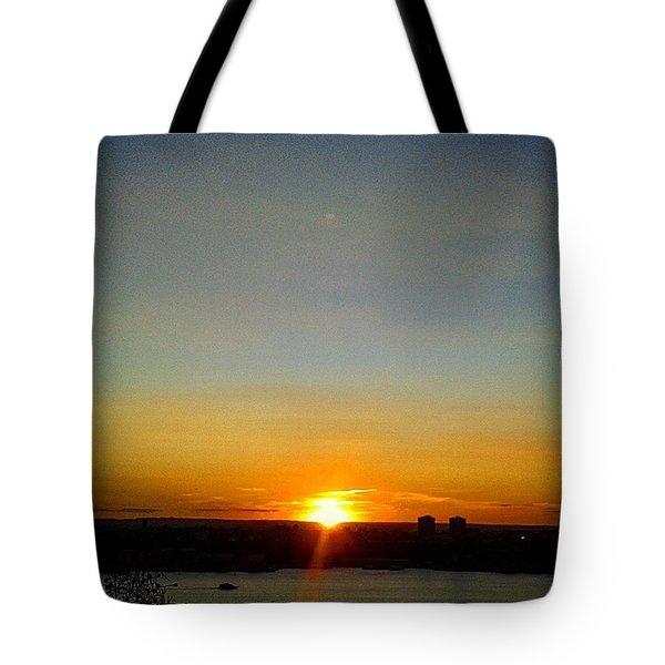 Sunset Over Hudson Tote Bag