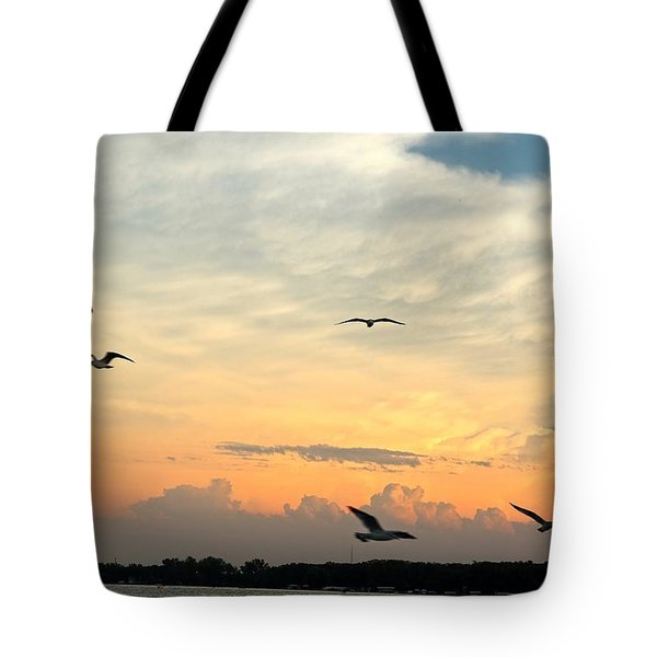 Sun Setting Over The Lake   Tote Bag
