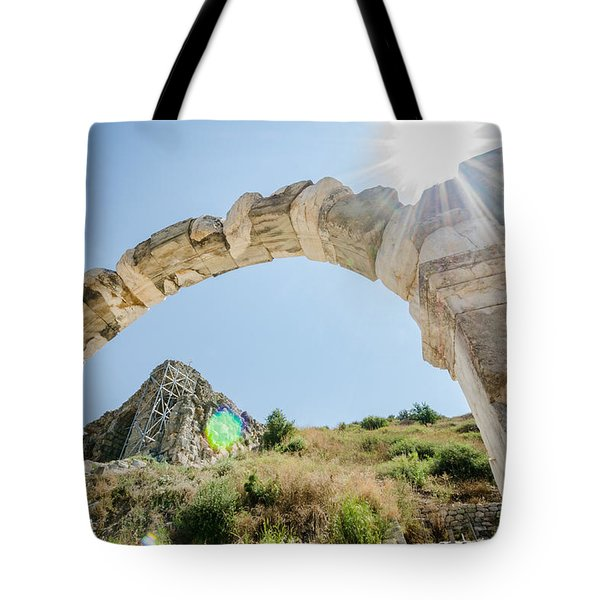 Sun Shining On An Ephesus Arch Tote Bag