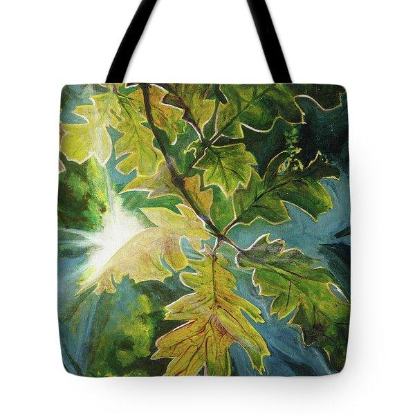 Sun Through Oak Leaves Tote Bag
