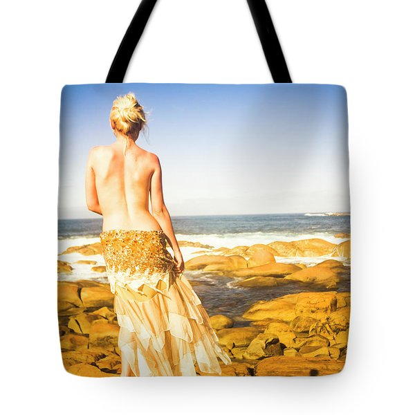 Sunbathing By The Sea Tote Bag