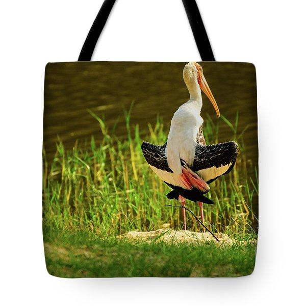 Sunbathing Delta-winged Painted Stork  Tote Bag
