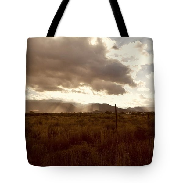 Tote Bag featuring the photograph Sun Beams Over The Mountain by Deborah Moen