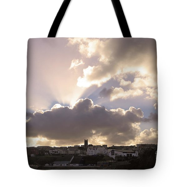 Tote Bag featuring the photograph Sunbeams Over Church In Color by Nicholas Burningham