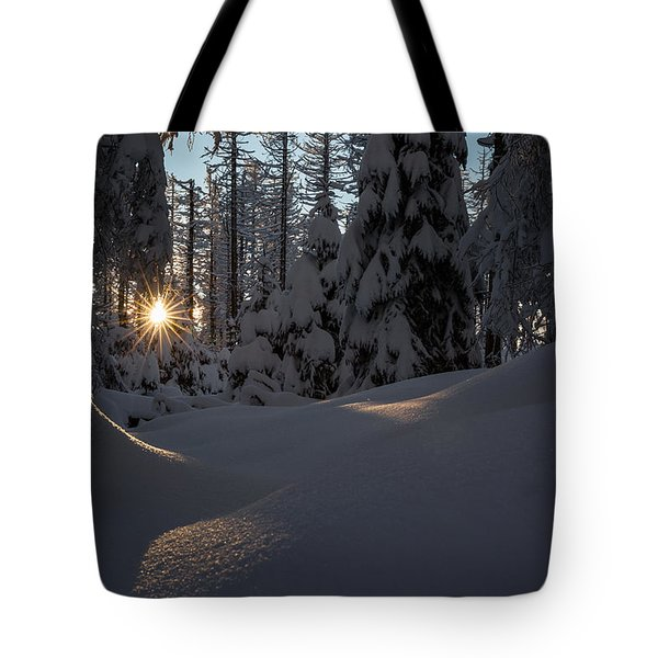 Sunburst In Winter Fairytale Forest Harz Tote Bag by Andreas Levi
