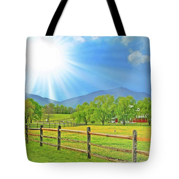 Sunburst Over Peaks Of Otter, Virginia Tote Bag