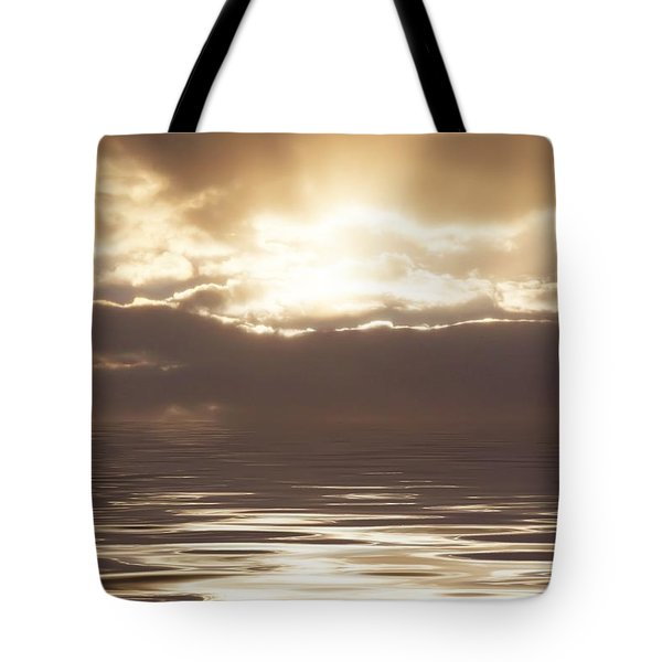 Sunburst Over Water Tote Bag by Bill Cannon