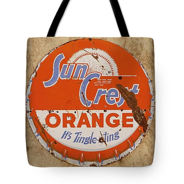 Tote Bag featuring the photograph Suncrest Orange Soda Cap Sign by Dutch Bieber