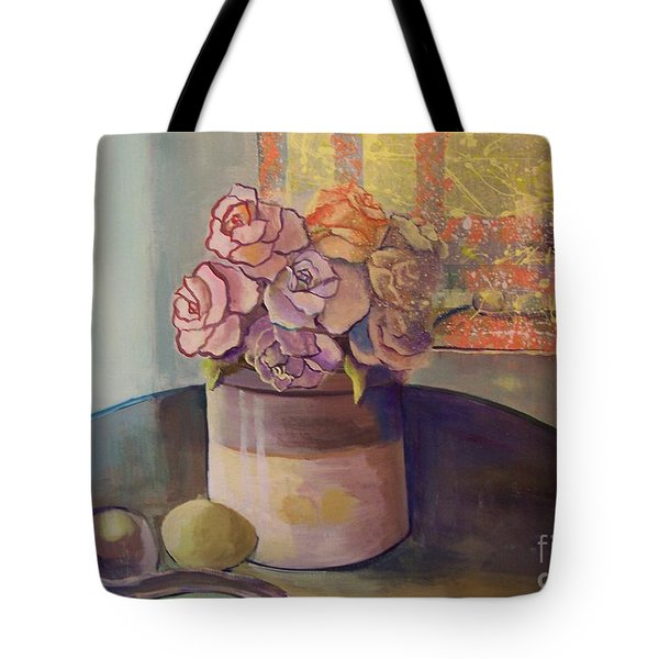 Sunday Morning Roses Through The Looking Glass Tote Bag