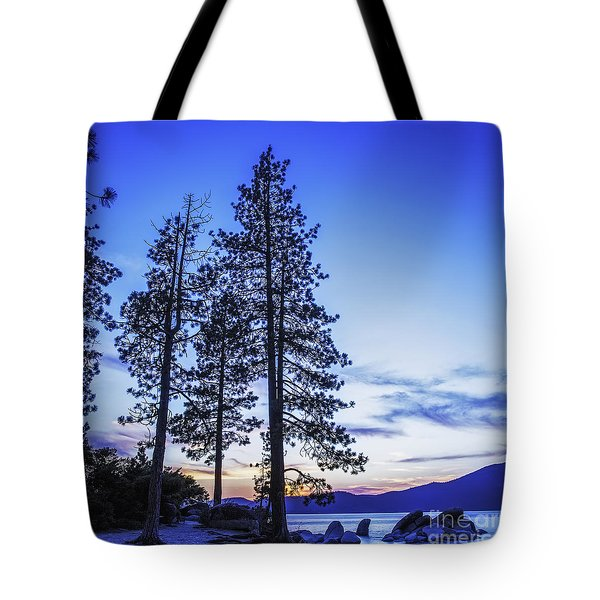 Sundown At The Harbor Tote Bag by Nancy Marie Ricketts