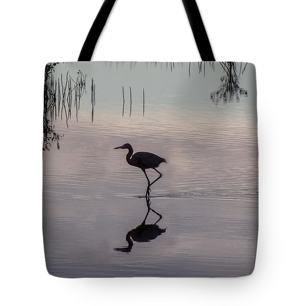 Sundown Heron Silhouette Tote Bag