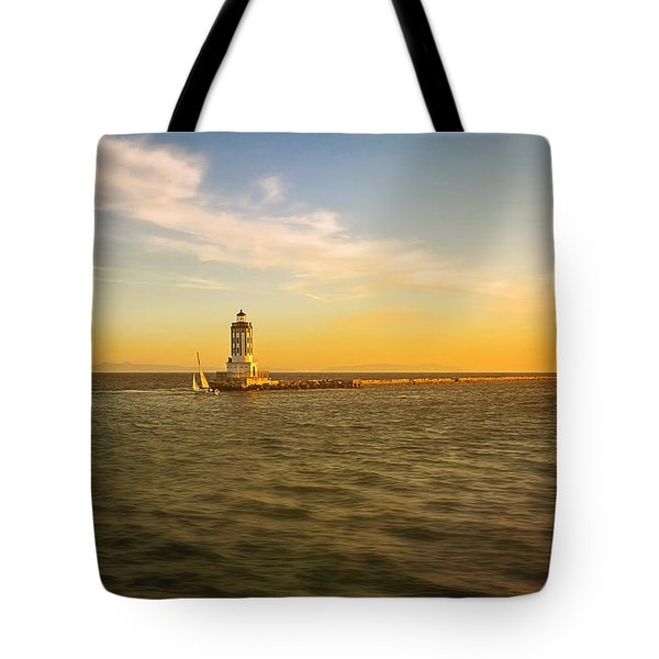 Sundown Lighthouse Tote Bag