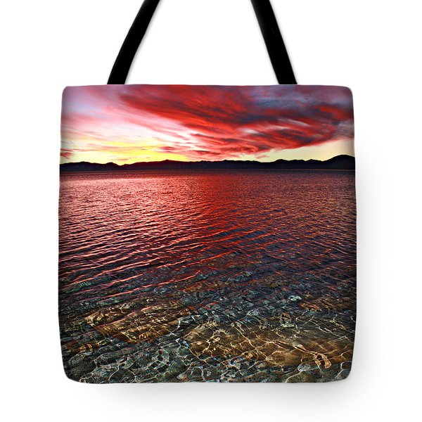 Tote Bag featuring the photograph Sundown...the Water's Edge by Sean Sarsfield