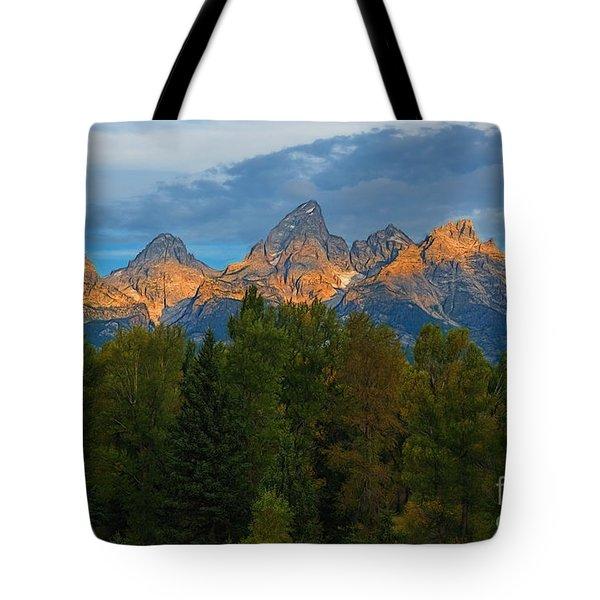 Sundrise On Grand Tetons Tote Bag by Sharon Seaward