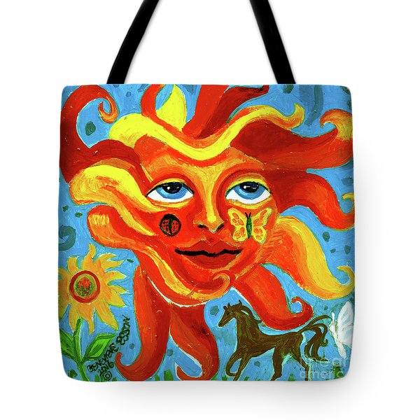 Tote Bag featuring the painting Sunface With Butterfly And Horse by Genevieve Esson