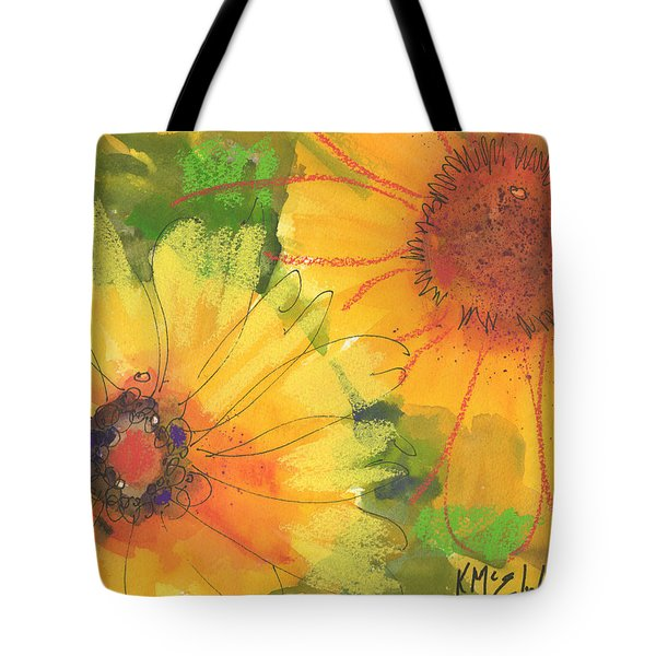 Big Sunflowers Watercolor And Pastel Painting Sf018 By Kmcelwaine Tote Bag