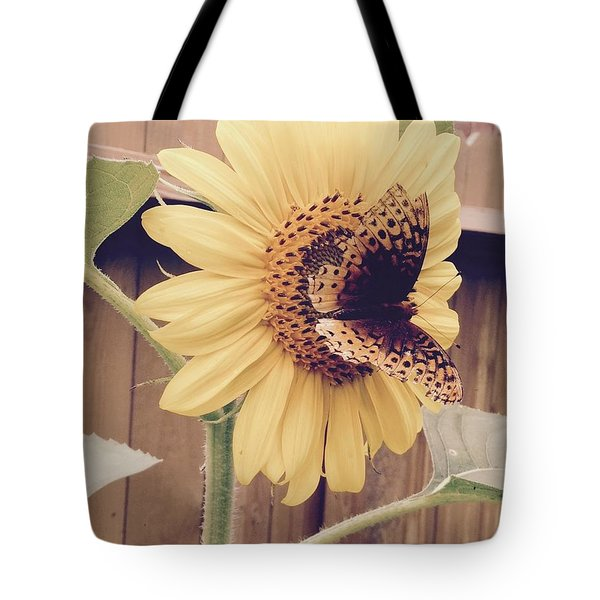 Sunflower And Butterfly Tote Bag