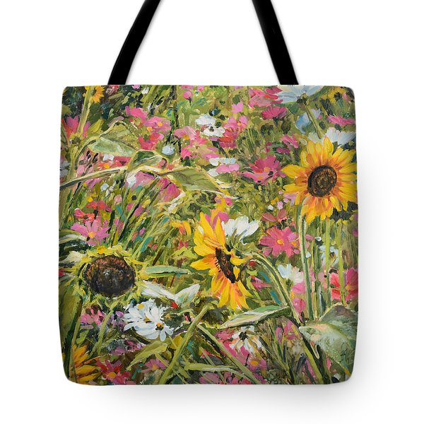 Tote Bag featuring the painting Sunflower And Cosmos by Steve Spencer