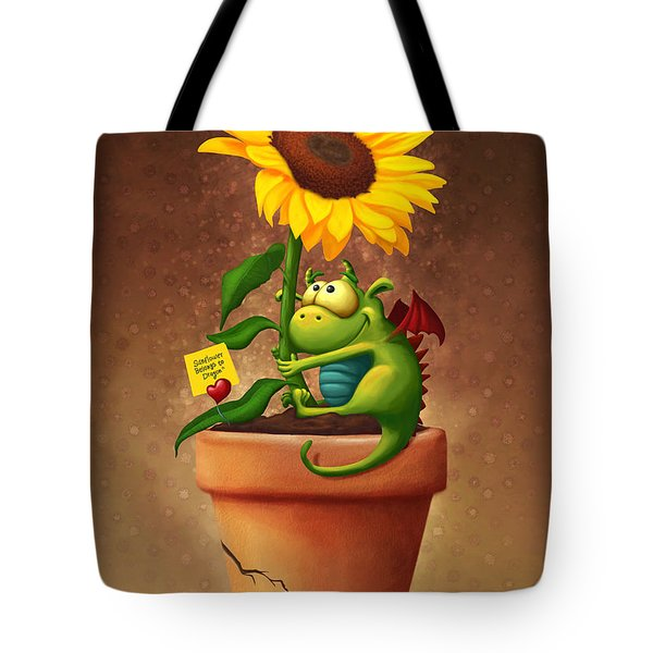Sunflower And Dragon Tote Bag