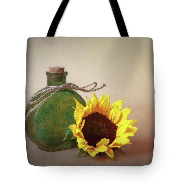 Sunflower And Green Glass Still Life Tote Bag