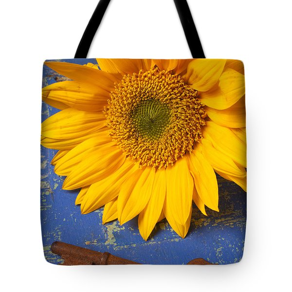 Sunflower And Skeleton Key Tote Bag by Garry Gay