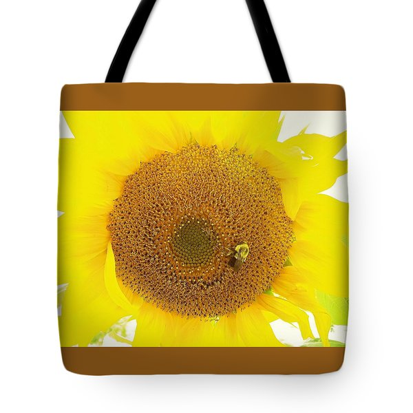 Sunflower And The Happy Bee Tote Bag