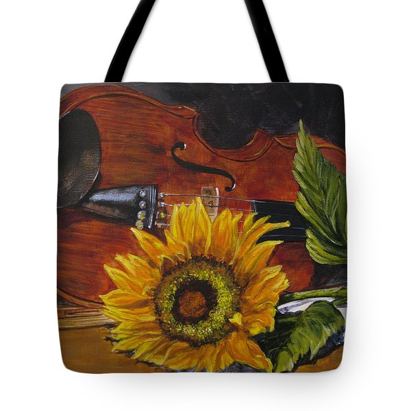 Sunflower And Violin Tote Bag