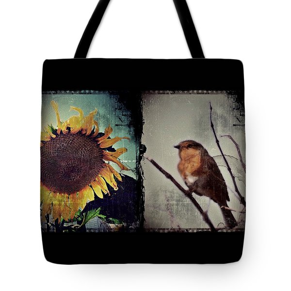 Sunflower Bird Diptych Tote Bag by Patricia Strand