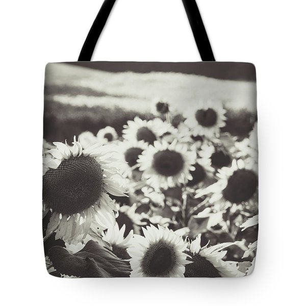 Tote Bag featuring the photograph Sunflower Black And White 1 by Andrea Anderegg