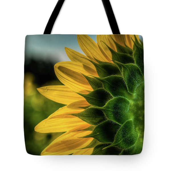 Tote Bag featuring the photograph Sunflower Blooming Detailed by Dennis Dame