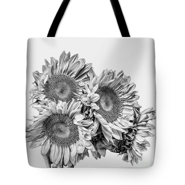 Sunflower Bouquet Bw Tote Bag