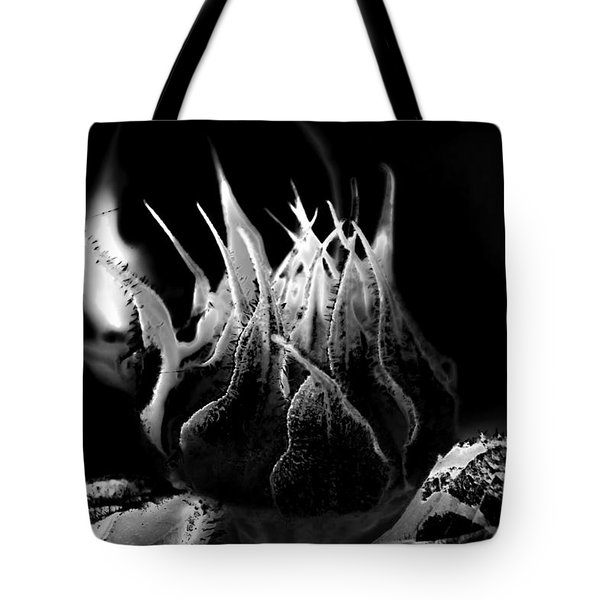 Sunflower Bud Abstract Tote Bag