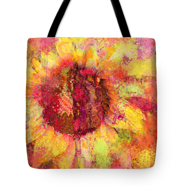Sunflower Burst In Pink Tote Bag