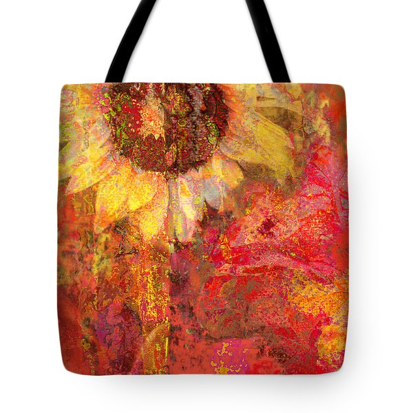 Sunflower Burst Tangerine Tote Bag