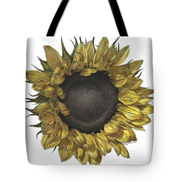 Sunflower Drawing In Color Tote Bag