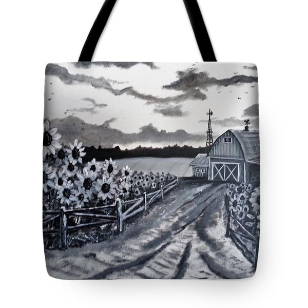 Tote Bag featuring the painting Sunflower Farm by Kevin F Heuman