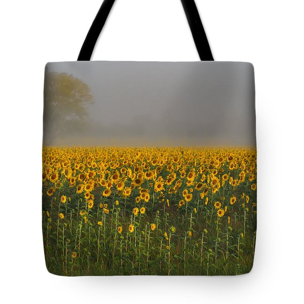 Sunflower Field On A Foggy Morn Tote Bag
